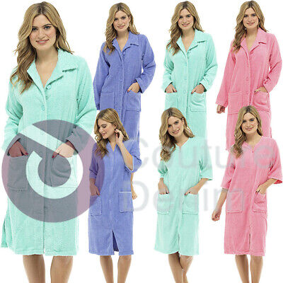 Ladies Terry Towelling Zip Or Button Front Dressing Gown Bath Womens Robe Wrap • 14.95£