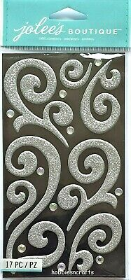 SILVER PUFFY FLOURISH WITH GEMS Jolee's Boutique 3-D Ornate Stickers  • 1.99£
