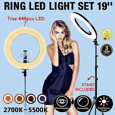 AU134.84 • Buy Zomei 19  Photography Kit LED Ring Light Dimmable & Stand For Camera Make Up