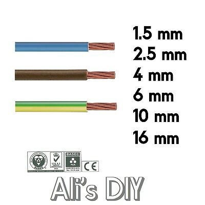 £5.19 • Buy Single Core Conduit Cable 6491X Blue Brown Earth Yellow Green Wire 6 10 16 Mm
