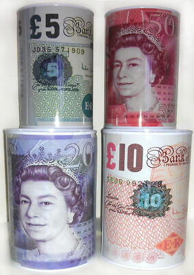 £5 £10 £20 £50 Pound Note Design Kids Money Box Tin Saving Cash PIggy Bank Box N • 9.89£