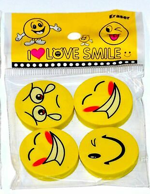 4 Emoji Smile Face Erasers Funny Rubbers Stationary Kids Party Loot Bag Fillers • 1.99£