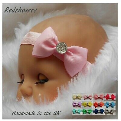 Baby Headband With 5cm Bow & Sparkle GEM - Soft Party Outfit Wedding Christening • 1.25£