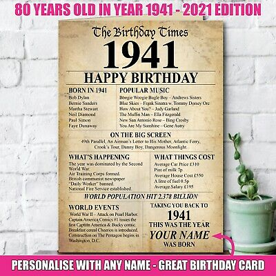 £3.36 • Buy 1941 80th Personalised Birthday Greeting Card Back In Edition Ago Milestone 140