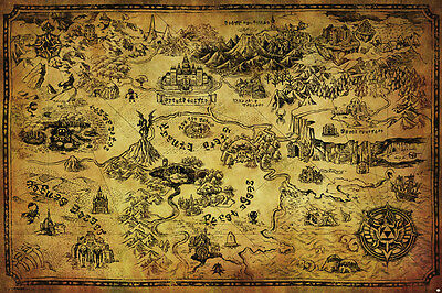 $11.99 • Buy LEGEND OF ZELDA MAP 24x36 Poster NINTENDO BRAND NEW HYRULE VIDEO GAMES GIFT NEW!