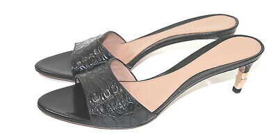 fb0e746af75 Gucci Women s Sz 8 Black Crocodile Mule Heels Rose Gold Bamboo Tom Ford New  • 385.00