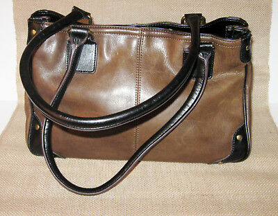 fbefd35286 Tignanello Brown Handbag Vintage Design Aged Leather Black Trim Women s  Purse • 70.00