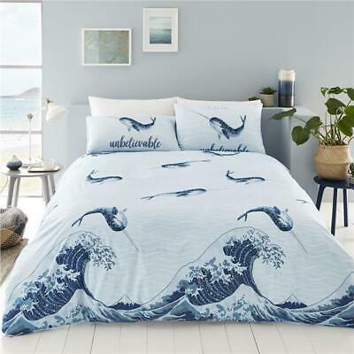 Duvet Set Blue Ocean Wave Narwhal Whale Quilt Cover Bedding • 13.29£