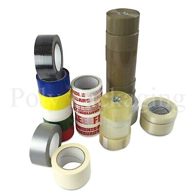 £7.20 • Buy ANY TYPE/QTY Brown/Clear Packing Tapes/Warning Duct/Masking/Warning/Coloured Etc