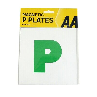 AA Pack Of 2 P Plate New Driver Green Magnetic Pair Just Passed Car Van Driving • 2.85£