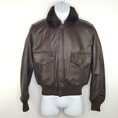 e59c95615a9 Vintage BUAER U.S. NAVY G-1 Flight Jacket Dark Brown Leather RARE Size  Small •