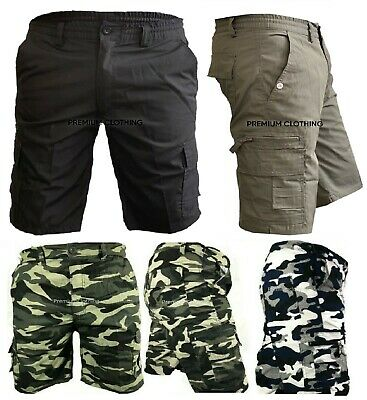 Mens Army Camouflage Cargo Elasticated Shorts Cotton Combat Half Pants Bottoms A • 12.99£