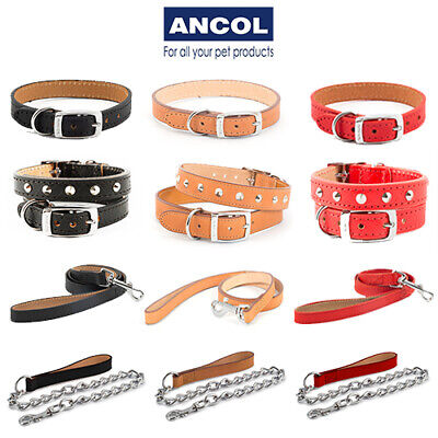 £8.99 • Buy Ancol Heritage Leather Collars Chain Lead Studded Stitched Black Red Tan