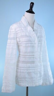 $ CDN50.42 • Buy W BY WORTH $398 White Long Wide Sleeve Snap Button Sheer Panel Jacket Size S