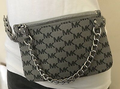 ae0cac03412f2f Michael Kors Belt Bag MK Signature Logo Fanny Pack Faux Leather Size M Grey  • 34.99