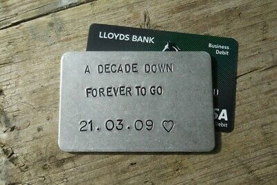 A DECADE DOWN 10 YEARS Aluminum 10th Wedding Anniversary Gift WALLET INSERT Tin • 12.99£