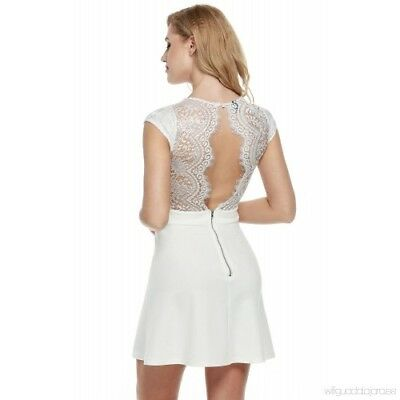 6d9e7f9be1 White Lace Open Back Dress Zeagoo A Line Skater Small S 2 4 Forever 21 H M