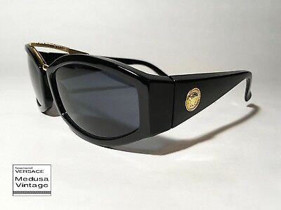 d3c62508f71a GIANNI VERSACE VINTAGE  90s ASYMMETRY WIRED SUNGLASSES MEN MEDUSA BLACK  FRAME • 166.10