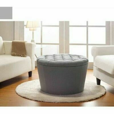 Ottoman Storage Tufted Round Bench Coffee Table Grey Nailhead Accent Extra  Seat U2022 122.11$