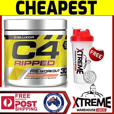 AU46.90 • Buy Cellucor C4 Ripped 30srv Pre Workout Blue Raz // Thermogenic Fat Burner Gen 4