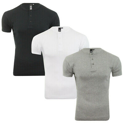 Men's Short Sleeve All Over Ribbed Grandad Collar  Casual T-shirt By Soul Star • 9.99£