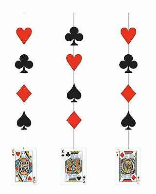 $3.99 • Buy Casino Party Decorations Hanging Cutout Playing Cards 3ct. (e)