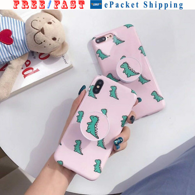 AU19.30 • Buy For IPHONE 6 7 8 X CUTE Retro Pink  Little Dinosaur Accessory Bracket Cover Case