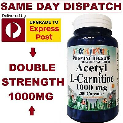 AU40.95 • Buy Acetyl L Carnitine 1000mg Serv 200 Caps DOUBLE STRENGTH Weight Loss VALUE SIZE!
