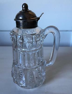 $50 • Buy Antique Heavy Blown Glass Syrup Pitcher Silverplate Spout Circa 1880s Large 7.5