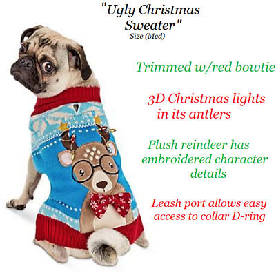 $14.99 • Buy Dog Christmas Holiday Ugly Christmas Sweater / 3D Plush Embroidered Detail ( M )