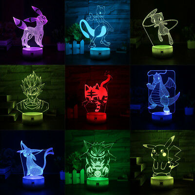 Mewtwo Pokemon Pikachu 3D Acrylic LED  Night Light Touch Table Desk Lamp Gift • 15.49£