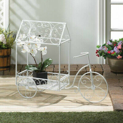 White Iron Tricycle Plant Cart Stand Flower Home Garden Pot Holder • 130$