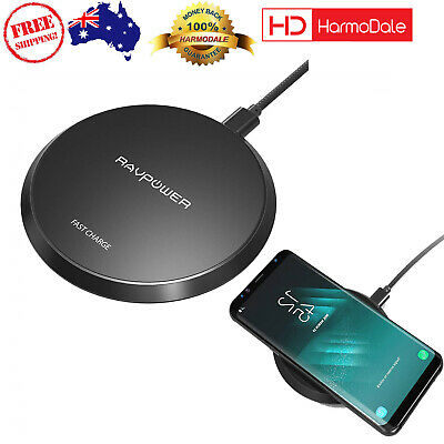 AU24.97 • Buy RAVPower 10W Wireless Charger Qi Certified Fast Charging Pad Samsung IPhone