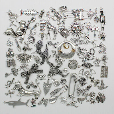 £1.28 • Buy Wholesale Antique Silver Jewelry Finding Charms Pendants Carfts DIY