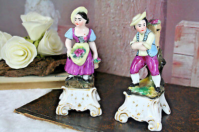 $ CDN156.92 • Buy PAIR French Antique Petit Pique Fleurs Vases Figurines Man&lady Porcelain Faienc