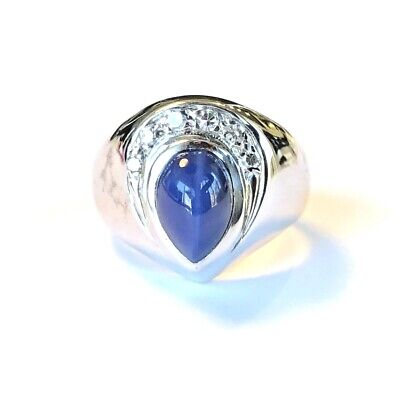 $1217 • Buy 14k White Gold Mens Pinky Ring W/ Blue Pear Shaped Cats Eye Solitaire & Diamonds