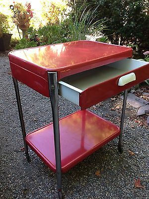 $169.99 • Buy Vintage Red Cosco Style 2 Shelf 1 Drawer Metal Rolling Kitchen Utility Cart
