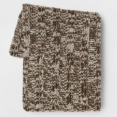 £24.84 • Buy Threshold Cable Knit Throw Blanket Brown Cream Tweed 50  X 60