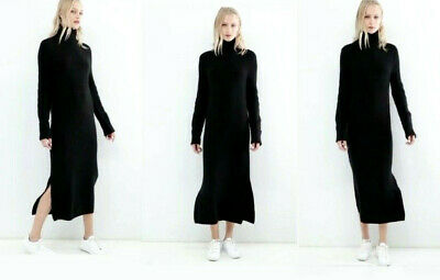 AU71.99 • Buy NWT Designer ASOS Wool Touch Polo Neck Knit Midi Jumper DRESS BLACK UK 12 14 16