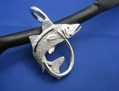 $199 • Buy XXL Extra Large Sterling Silver New Men's Snook Fish Hook Beach Nautical Pendant