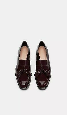 c09eb634dbe NWT Zara 2019 Burgundy Patent Tasseled Moccasins Loafers Shoes Sz 8