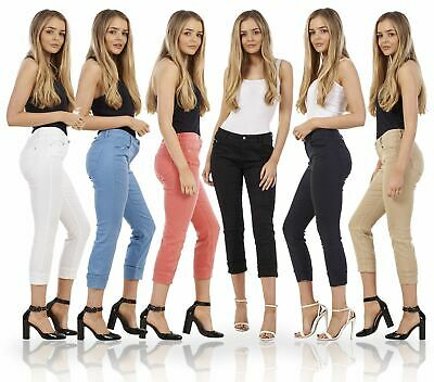 £8.99 • Buy Ladies Cotton Slim Cropped Pants 3/4 Womens Stretch Crop Summer Trousers
