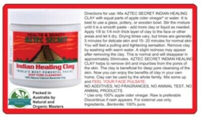 AU13.90 • Buy ✅Aztec Secret Indian Healing Clay FACIALS ACNE PORE Cleaning Mask - FAST POST