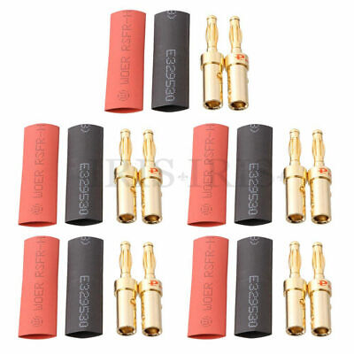 £6.79 • Buy 4mm Gold Banana Wire Audio Speaker Plugs Male Connectors Adapter 5 Pairs