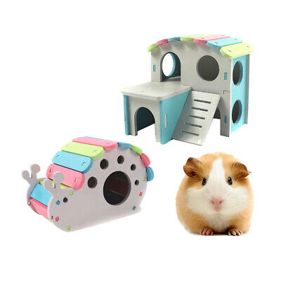 £8.98 • Buy 2x Hamster Gerbil Play House Wooden Hut Small Animal Activity Toy Playground