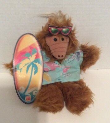 Burger King 80's Surfer Alf Plush Doll With Surfboard / Sunglasses Puppet • 19.99$