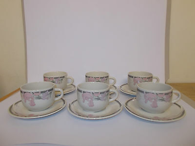 £12.95 • Buy 6 X Crown Dynasty Coffee Cups And Saucers Floral Design Lovely