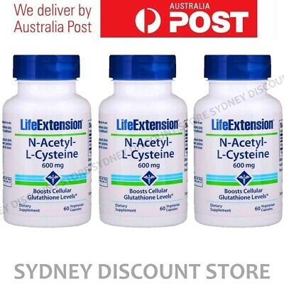 AU99.11 • Buy Life Extension N-Acetyl Cysteine NAC 600mg 60 Caps X 3 Bottles