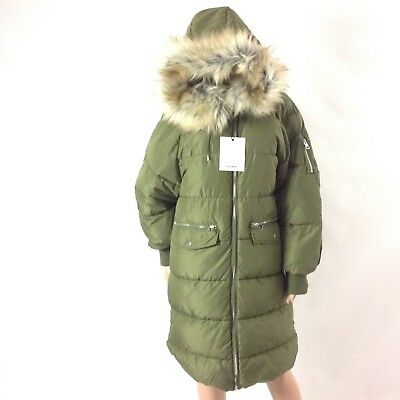 AU117.28 • Buy Pull And Bear Women Puffer Winter Jacket Size L Green Long Quilted Knee F47 New