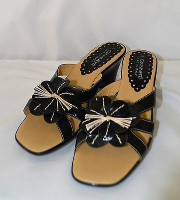 655689f73774 A. Giannetti Black Floral Women s Leather Sandals Made In Italy ~ Size 9 1